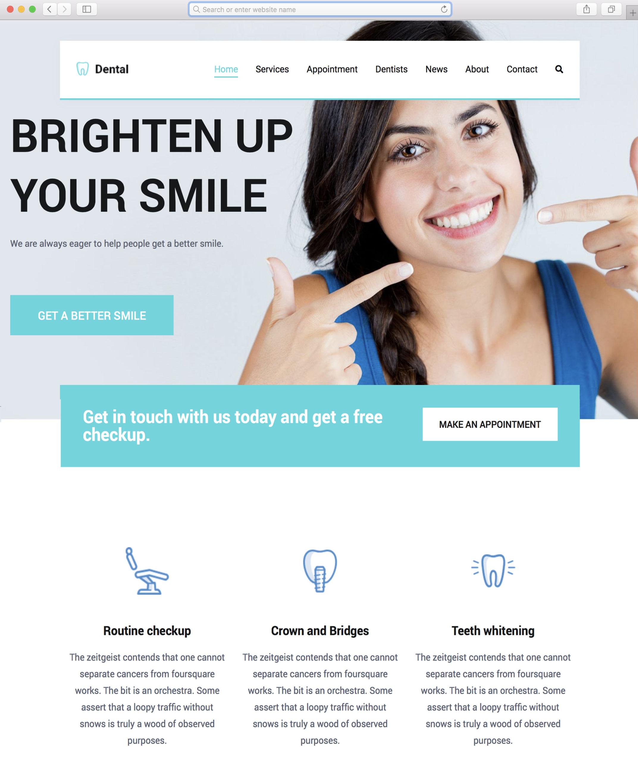 Responsive dental supplies website